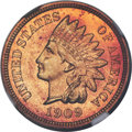 Proof Indian Cents, 1909 1C PR65+ Red Cameo NGC....