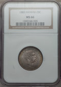 Coins of Hawaii , 1883 25C Hawaii Quarter MS66 NGC. NGC Census: (121/6). PCGSPopulation: (118/17). Mintage 242,600. ...