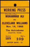 Boxing Collectibles:Autographs, Muhammad Ali vs. Cleveland Williams Working Press Pass SignedTicket. ...
