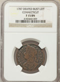 1787 Connecticut Copper, Draped Bust Left, Fine15 NGC. NGC Census: (32/401). PCGS Population: (76/475)....(PCGS# 370)