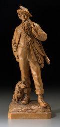 Decorative Arts, Continental:Other , A Tyrolean Carved Boxwood Huntsman and Hound Group, late 19thcentury. 14-1/4 inches high (36.2 cm). ...