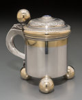 Silver Holloware, Continental, A Swedish Partial Gilt Silver and Enameled Miniature Tankard,Stockholm, Sweden. Marks: K.A (three crowns), S,(city...