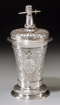 Silver Holloware, Continental:Holloware, A Cased Richard Garten German Silver Figural Covered Cup, Dresden,Germany, circa 1886-1905. Marks: (crescent-crown), 800...
