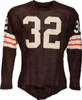 Football Collectibles:Uniforms, 1962-65 Jim Brown Game Worn Cleveland Browns Jersey, MEARS A10....