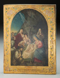 Decorative Arts, Continental, A Russian Icon of the Nativity. 10-1/2 inches high x 8-1/2 incheswide (26.7 x 21.6 cm). ...