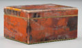 Decorative Arts, Continental, A Small Bookend Veneered Petrified Wood Box. 2 h x 4 w x 3 d inches(5.1 x 10.2 x 7.6 cm). ...