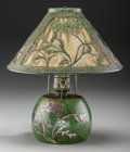 Decorative Arts, American:Lamps & Lighting, A Heintz Patinated Bronze Poppy Boudoir Lamp with Silver Overlay. 9-1/4 inches high (23.5 cm). ... (Total: 2 Items)