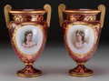 Ceramics & Porcelain, Continental:Antique  (Pre 1900), A Pair of Austrian Gilt Ruby Glass Vases with Porcelain Portrait Plaques, late 19th-early 20th century. 11-3/8 inches high (... (Total: 3 Items)