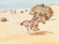 Works on Paper, Leonard Howard Reedy (American, 1899-1956). The Fleeing Outlaw. Watercolor on paper. 8 x 11 inches (20.3 x 27.9 cm) (sig...
