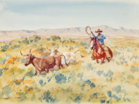Leonard Howard Reedy (American, 1899-1956) Gathering Strays Watercolor on paper 8 x 11 inches (20