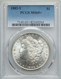 Morgan Dollars: , 1882-S $1 MS65+ PCGS. PCGS Population: (18406/5858 and 232/254+). NGC Census: (18957/8325 and 191/232+). CDN: $150 Whsle. B...