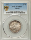 Coins of Hawaii , 1883 25C Hawaii Quarter MS66 PCGS Secure. PCGS Population: (118/17 and 5/2+). NGC Census: (118/6 and 0/0+). Mintage 242,60...