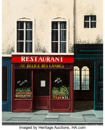 Thomas Pradzynski (Polish/French, 1951-2007) Restaurant au Delice des Landes, 1979 Acrylic on canvas 16 x 13 inches (...