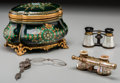 Paintings, A Set of Three Opera Glasses and a French Enameled Jewelry Box. Maker unknown, late 19th/early 20th century. Marks: TAHAN, F... (Total: 4 Items)