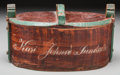Decorative Arts, Continental, A Scandinavian Hand-Painted Covered Wooden Box. 6 h x 11 w x 6-1/2d inches (15.2 x 27.9 x 16.5 cm). ...