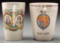 Ceramics & Porcelain, British:Modern  (1900 1949)  , Two English Porcelain Commemorative Beakers, first half 20thcentury. Marks to taller: MIDWINTER, PORCELON, BURSLEM, ENGLA...(Total: 2 Items)