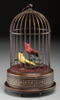 Decorative Arts, Continental:Other , A Continental Bird Cage Automaton, 20th century. 11-1/2 inches high(29.2 cm). ...