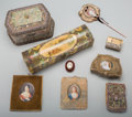 Paintings, A Group of Nine Assorted Vanity Items, late 19th/early 20th century. 3-1/4 h x 13 w x 3-3/4 d inches (8.3 x 33.0 x 9.5 cm) (... (Total: 9 Items)
