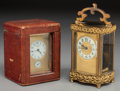Timepieces:Clocks, Two French Gilt Bronze Carriage Clocks, 20th century. 6-1/2 inches high (16.5 cm) (taller). ... (Total: 2 Items)