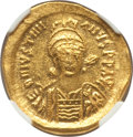 Ancients:Byzantine, Ancients: Justinian I the Great (AD 527-565). AV solidus (4.49 gm).NGC Choice MS 4/5 - 5/5....