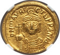 Ancients:Byzantine, Ancients: Maurice Tiberius (AD 582-602). AV solidus (18mm, 4.41 gm,6h). NGC MS 5/5 - 5/5....