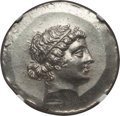 Ancients:Greek, Ancients: AEOLIS. Cyme. Ca. 155-140 BC. AR tetradrachm (15.82 gm).NGC Choice AU 5/5 - 3/5....