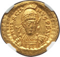 Ancients:Roman Imperial, Ancients: Marcian, Eastern Roman Emperor (AD 450-457). AV solidus (4.49 gm). NGC MS 5/5 - 4/5....