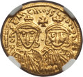 Ancients:Byzantine, Ancients: Constantine V Copronymus (AD 741-775), with Leo IV. AVsolidus (22mm, 4.43 gm, 5h). NGC AU 5/5 - 4/5....