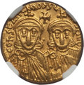 Ancients:Byzantine, Ancients: Constantine V Copronymus (AD 741-775), with Leo IV (AD751-775). AV solidus (20mm, 4.42 gm, 6h). NGC AU 5/5 - 5/5....