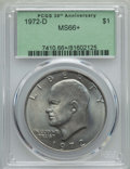 Eisenhower Dollars, 1972-D $1 MS66+ PCGS. PCGS Population: (486/15 and 29/0+). NGC Census: (329/4 and 2/0+). Mintage 92,548,512. ...