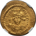 Ancients:Byzantine, Ancients: Maurice Tiberius (AD 582-602). AV lightweight solidus of23 siliqua (22mm, 4.24 gm, 7h). NGC MS ★ ...