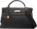 "Luxury Accessories:Bags, Hermes 40cm Black Ardennes Leather Retourne Kelly Bag with GoldHardware. Y Circle, 1995. Good Condition. 15.5""Wi..."