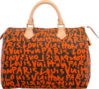 Louis Vuitton Limited Edition Orange Monogram Graffiti Canvas Speedy 30 Bag by Stephen Sprouse Excellent Condit