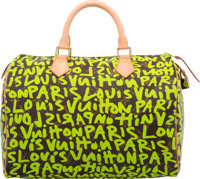 Louis Vuitton Limited Edition Green Monogram Graffiti Canvas Speedy 30 Bag by Stephen Sprouse Excellent Conditi