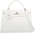 "Luxury Accessories:Bags, Hermes 32cm White Clemence Leather Retourne Kelly Bag withPalladium Hardware. I Square, 2005. Excellent Condition. 12.5""..."