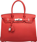 "Luxury Accessories:Bags, Hermes 30cm Vermillion Togo Leather Birkin Bag with PalladiumHardware. J Square, 2006. Excellent Condition. 12"" Width x8..."