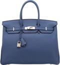Luxury Accessories:Bags, Hermes 35cm Blue de Prusse Clemence Leather Birkin Bag withPalladium Hardware. J Square, 2006. Very Good to ExcellentCon...