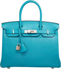 Luxury Accessories:Bags, Hermes 30cm Turquoise Chevre Coromandel Leather Birkin Bag withPalladium Hardware. J Square, 2006. Excellent Condition.1...