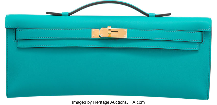 f301d051d9 Hermes Blue Paon Swift Leather Kelly Cut Clutch Bag with