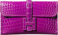 "Luxury Accessories:Bags, Hermes Shiny Violet Nilo Crocodile Jige PM Clutch Bag. I Square,2005. Excellent Condition. 8"" Width x 5"" Heightx..."