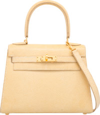 Hermes 20cm Blanc Casse Nilo Lizard Sellier Kelly Bag with Gold Hardware B Square, 1998 Excellent
