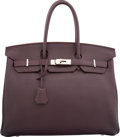 """Luxury Accessories:Bags, Hermes 35cm Raisin Clemence Leather Birkin Bag with Palladium Hardware. P Square, 2012. Very Good Condition. 14"""" W..."""