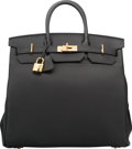 "Luxury Accessories:Bags, Hermes 40cm Black Togo Leather HAC Birkin Bag with Gold Hardware.T, 2015. Pristine Condition. 15.5"" Width x 14""H..."