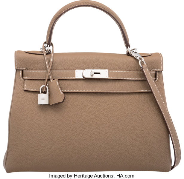 6be1bd3b4966 Hermes 32cm Etoupe Togo Leather Retourne Kelly Bag with