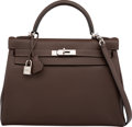 Luxury Accessories:Bags, Hermes 32cm Chocolate Togo Leather Retourne Kelly Bag withPalladium Hardware. R Square, 2014. PristineCondition. ...