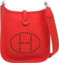 """Luxury Accessories:Bags, Hermes Rouge Tomate Clemence Leather Evelyne TPM Bag with PalladiumHardware. X, 2016. Pristine Condition. 6.5""""Wi..."""