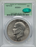 Eisenhower Dollars, 1973-D $1 MS66+ PCGS. CAC. PCGS Population: (335/12 and 20/0+). NGC Census: (73/2 and 0/0+). Mintage 2,000,000. ...