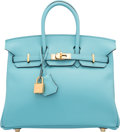 "Luxury Accessories:Bags, Hermes 25cm Blue Saint Cyr Swift Leather Birkin Bag with GoldHardware. T, 2015. Pristine Condition. 9.5"" Width x 8""Heigh..."