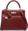 """Luxury Accessories:Bags, Hermes 25cm Rouge H Calf Box Leather Retourne Kelly Bag withPalladium Hardware. L Square, 2008. Excellent Condition. 10""""..."""