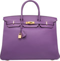 "Luxury Accessories:Bags, Hermes 40cm Ultraviolet Clemence Leather Birkin Bag with Gold Hardware. P Square, 2012. Excellent Condition. 15.5"" Width x..."